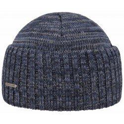 Stetson bonnet mélange laine vierge bleue