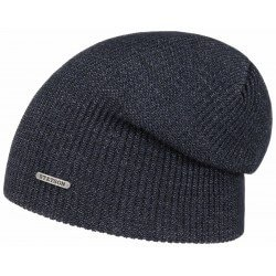 Stetson long beanie wool melange blue