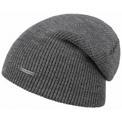 Stetson long beanie wool melange grey
