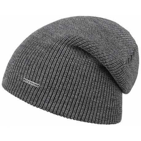 Stetson long beanie wool melange grey
