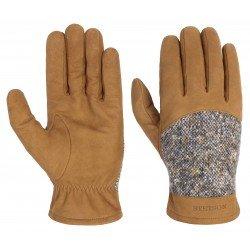 Stetson leather gloves and virgin wool brown - Chapellerie ile de Ré