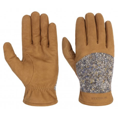 Stetson leather gloves and virgin wool brown