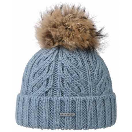 Stetson bonnet Racoon laine bleu