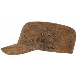 Stetson leather army cap