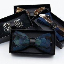 Black birds feather bow tie number 17 - Chapellerie ile de Ré