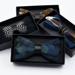 Black birds feather bow tie number 20 - Chapellerie ile de Ré