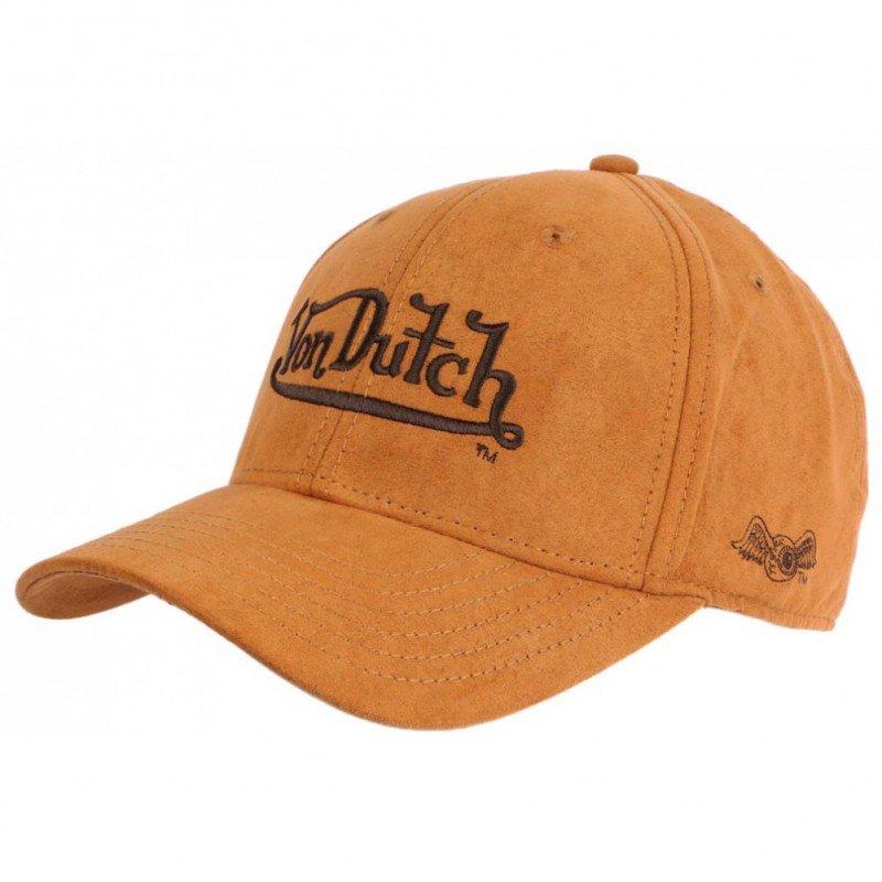Von Dutch Esprit Leather Baseball Cap Camel Suedine - Chapellerie ile de Ré